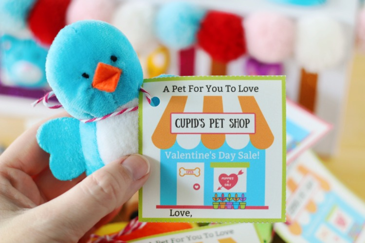 plush bird with printable valentine tied on