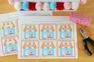 pet shop printable valentines on table