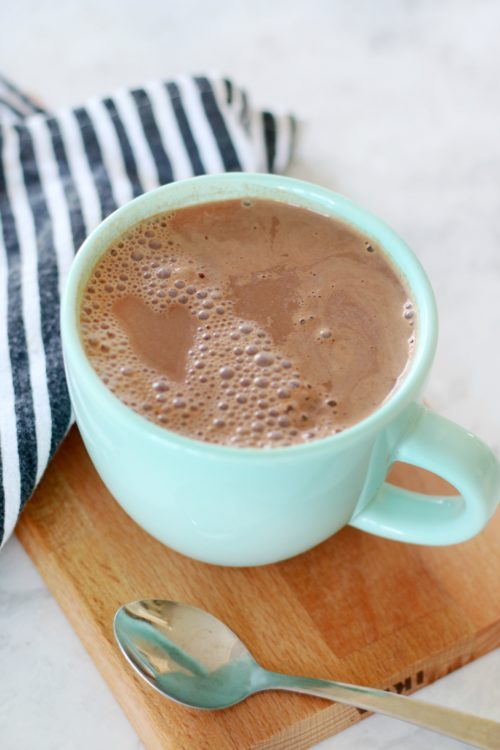 hot cocoa mug on cutting board