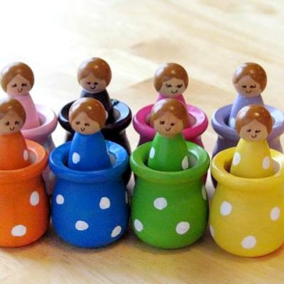 wooden peg dolls matching and sorting