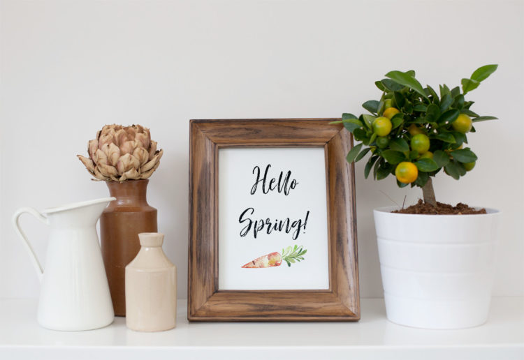 hello spring wall art in wooden frame