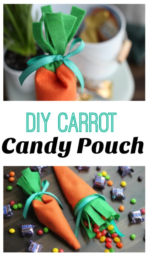 felt carrot candy pouch