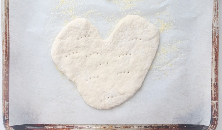 heart shaped pizza dough