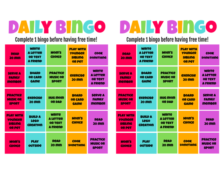 computer graphic of bingo card