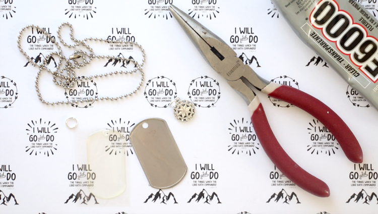 jewelry tools, dog tag blank, necklace chain and e6000 glue