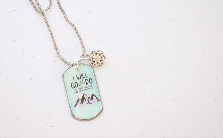 finished dog tag necklace with charm