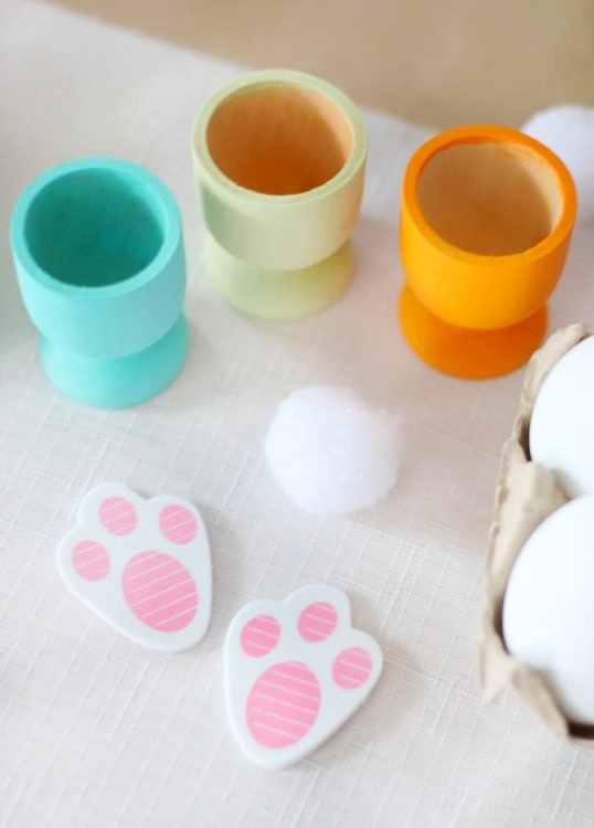 egg pots, cotton ball, egg pots