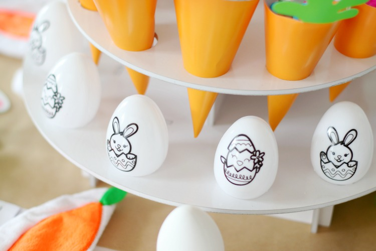 diy easter eggs on egg stand