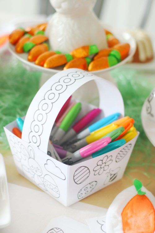 paper easter basket full of sharpie pens