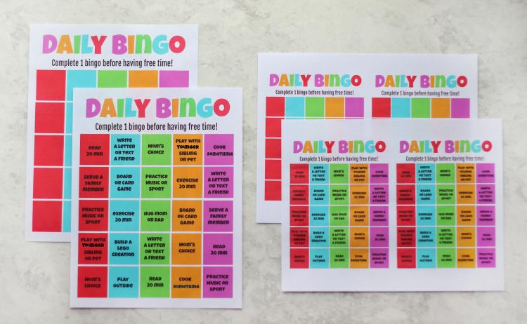 4 sizes of bingo cards
