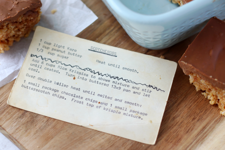 old index card with recipe printed on it