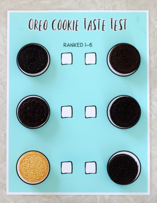 oreo taste test printable with different cookies in each slot