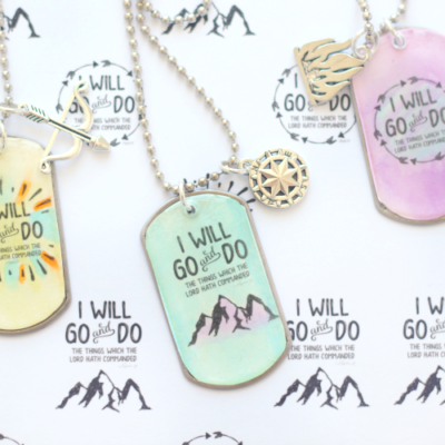 3 finished dog tag necklaces