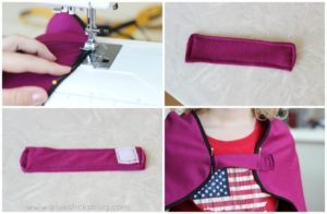 maroon fabric strip with small square of velcro stitched on