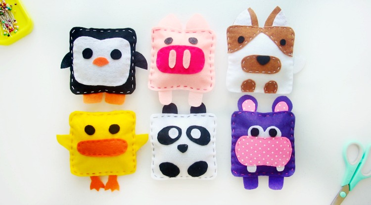 felt animals penguin, pig, dog, duck, panda and hippo