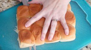 slicing hawaiian rolls in half