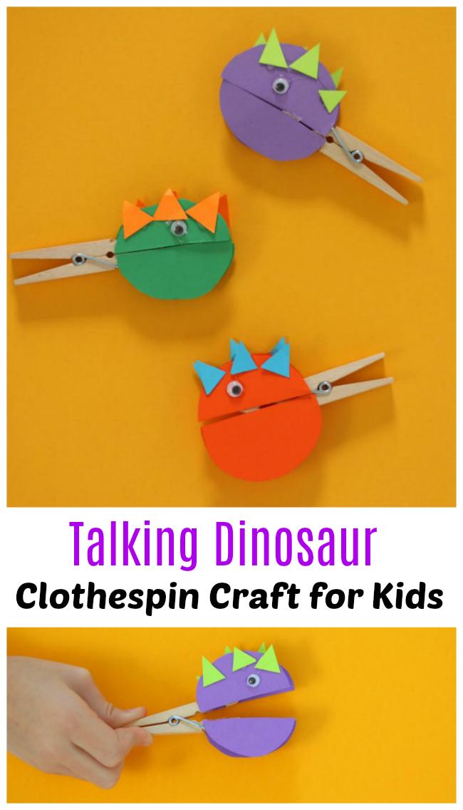 Talking Dinosaur Clothespin Craft