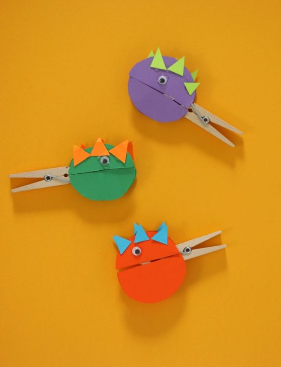 3 finished clothespin dinosaur clothespin crafts