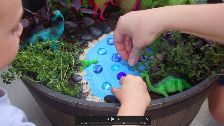 adding marbles to garden