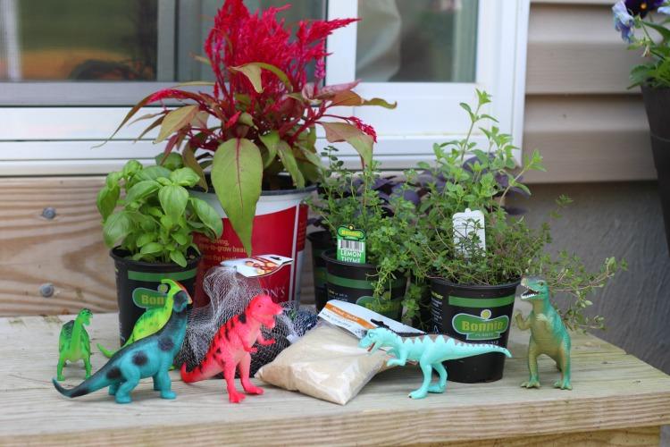 dinosaur garden supplies, sand, rocks, plants