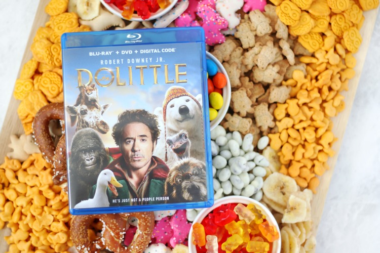 dolittle dvd with snack board