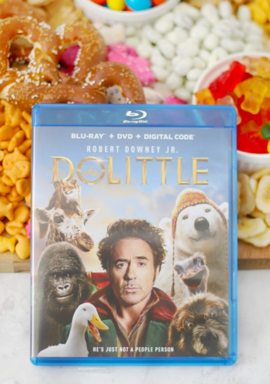 dolittle dvd with animal snack board