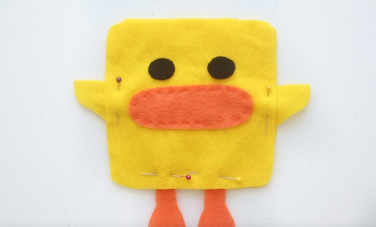 felt duck pinned and ready to stitch
