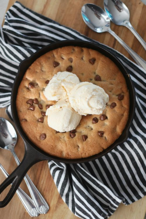 finished skillet cookie with ice cream