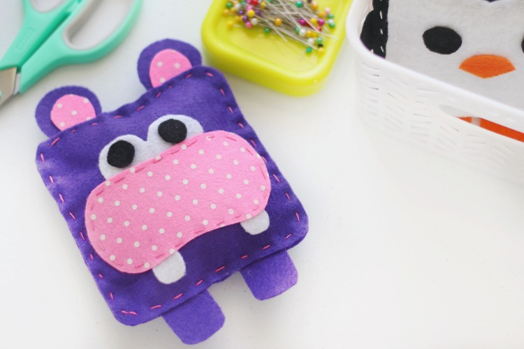 hippo softie on sewing table