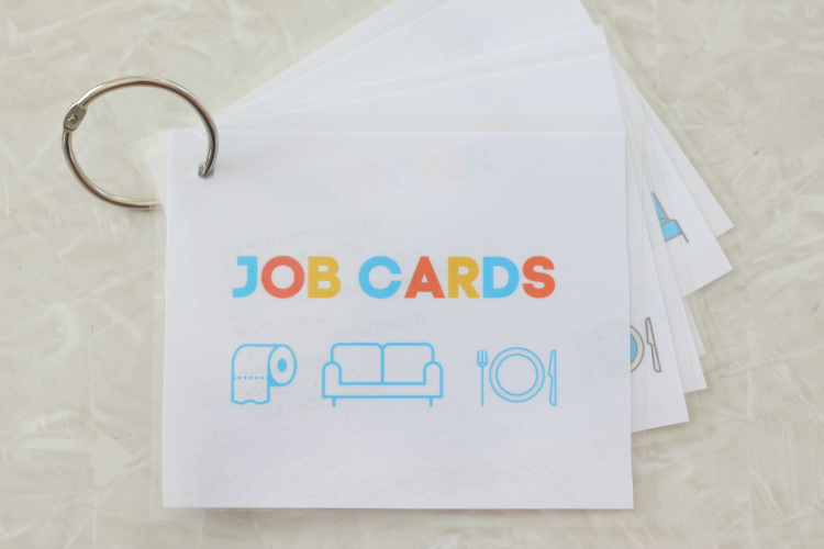 job cards for kids laminated with ring