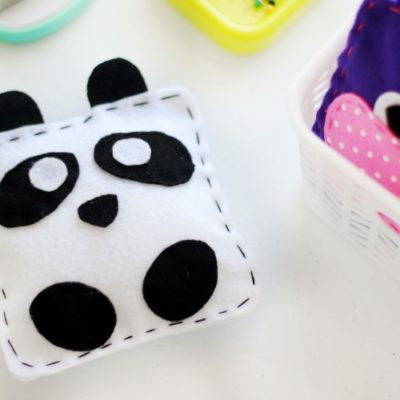 finished panda softie on sewing table