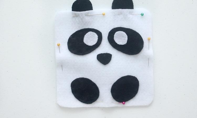 panda softie pinned and ready to stitch