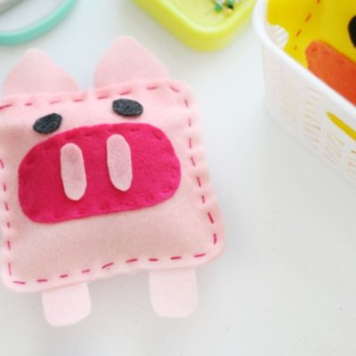 pig softie on sewing table