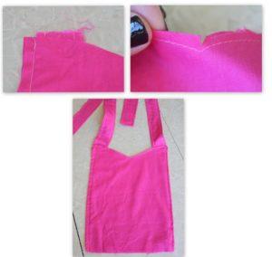 apron bodice, inside out, adding straps