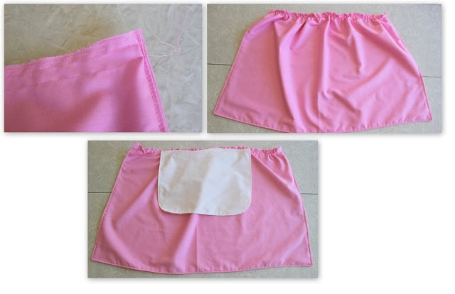 pink fabric with two lines of stitching for gathering