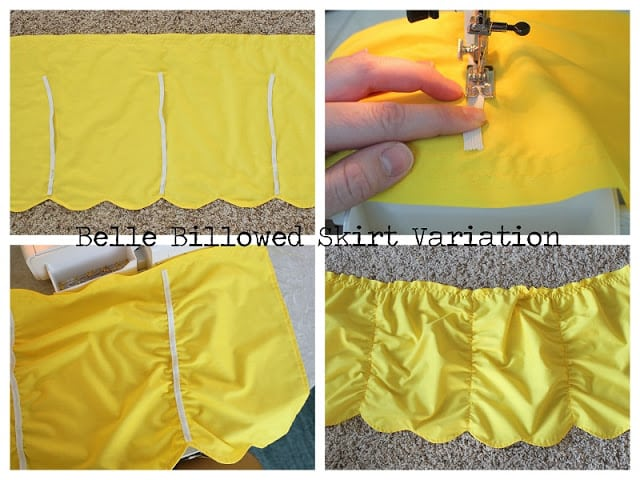 yellow fabric skirt with elastic sewn in vertical rows