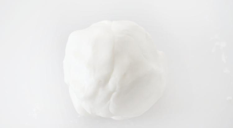ball of butter mint dough on cutting board
