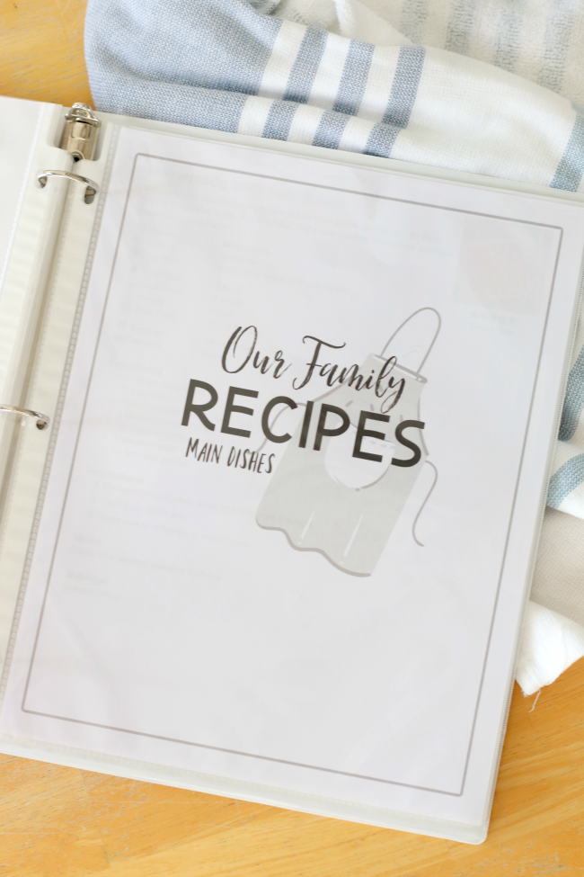 recipe binder open to main dishes page