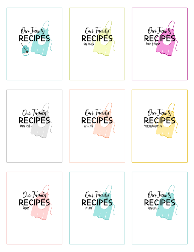 collage of cookbook printable pages