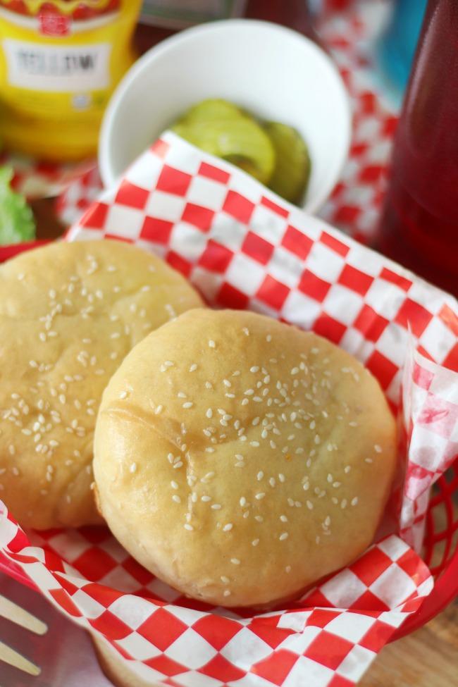 2 buns in a burger serving basket