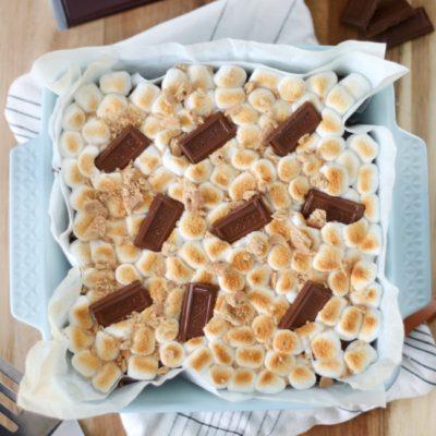 baked s'mores brownies in pan
