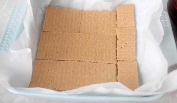 graham crackers in pan