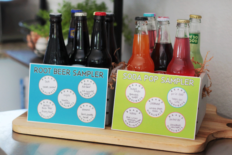 two soda samplers with printable cards