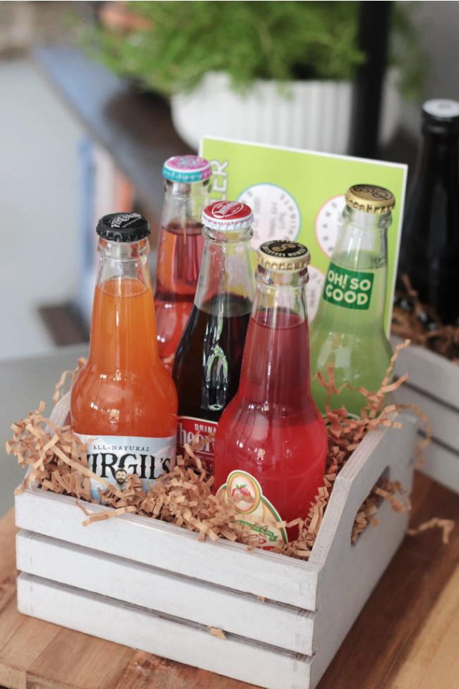 soda sampler crate filled with soda bottles