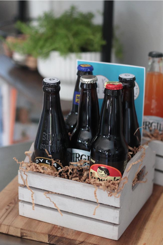 crate of root beer bottles for root beer sampler
