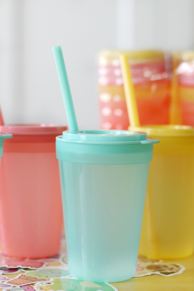 mint colored kids tumbler on table