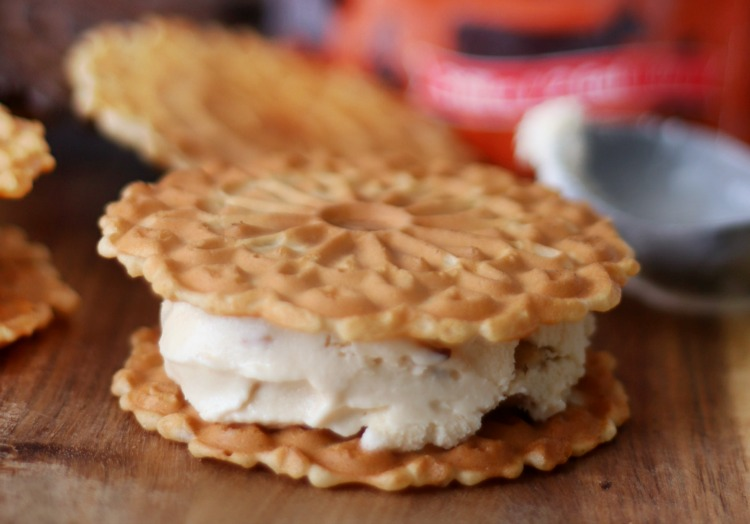 pizzelle ice cream sandwich on cutting board