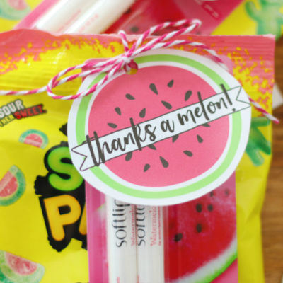 thanks a melon tag tied onto package of sour watermelon candy