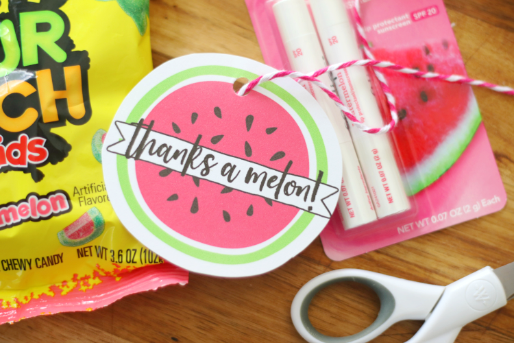 thanks a melon printable tag cut out with twine and scissors on table