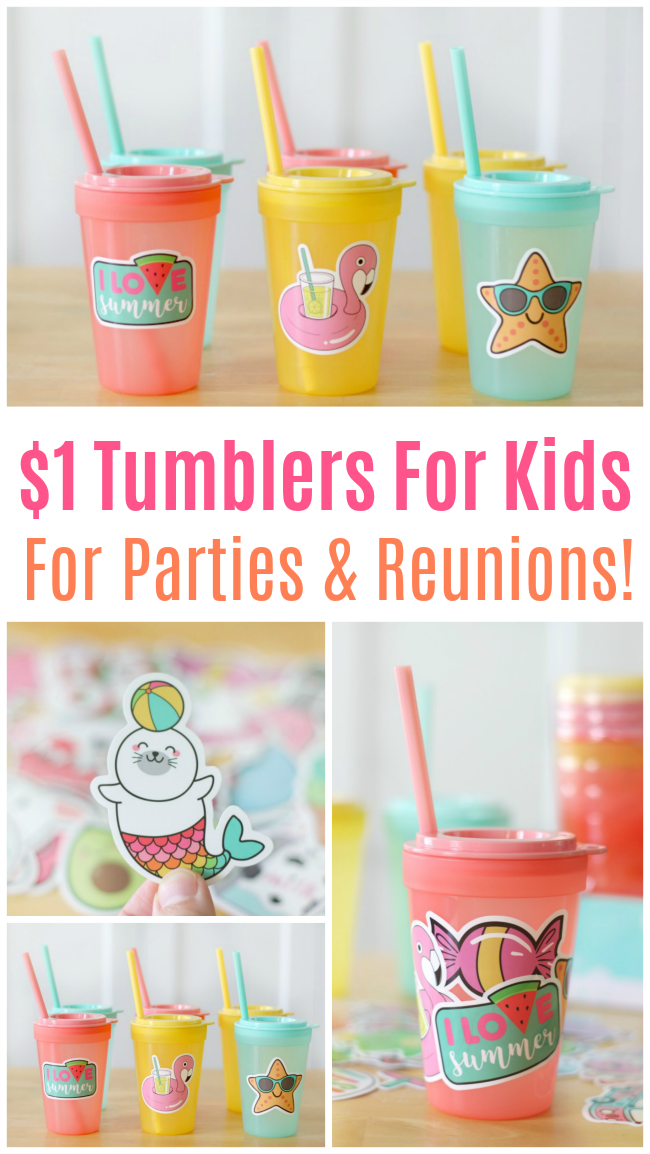 No more writing names on Solo cups, these tumblers for kids are inexpensive and fun to decorate with water bottle stickers. Perfect for parties and family reunions!